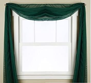 "Gorgeous Home 1 PC SOLID HUNTER GREEN SCARF VALANCE SOFT SHEER VOILE WINDOW PANEL CURTAIN 216"" LONG TOPPER SWAG"