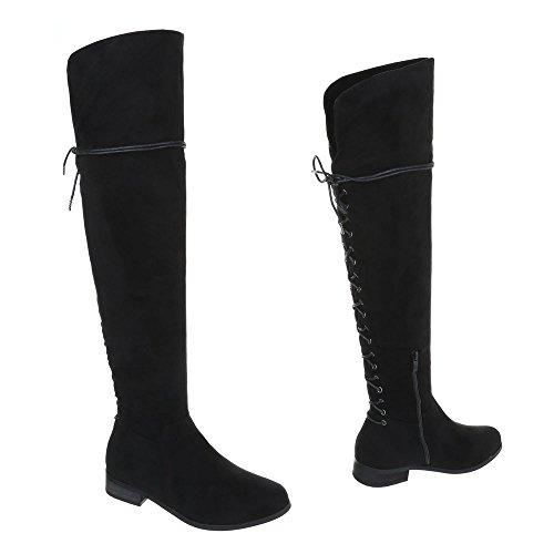 Bloque por Design en tacón mujer de rodilla Black la Ital para botas de encima Botas PqxEYOAn