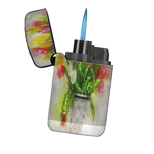 - Tulip Bouquet Tin Flower Pot - New Vibe Flameless Turbo Flip-Top Windproof Refillable Pocket Lighter