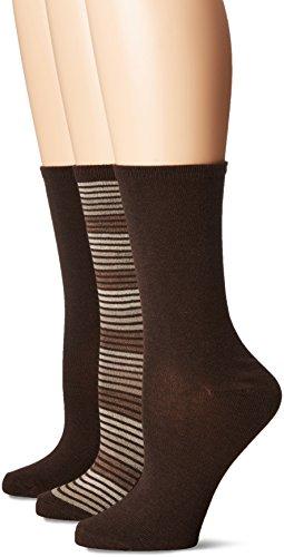 Brown Womens Socks (No Nonsense Women's Flat Knit Crew Sock, 3 Pair Pack, Striped-Espresso, 4-10)