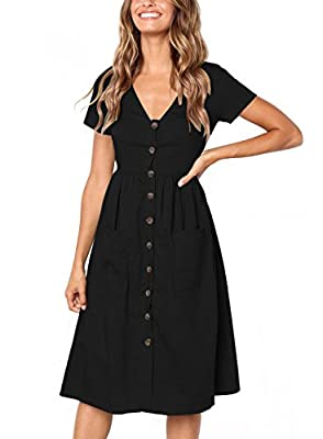 Astylish Women Casual Short Sleeve V Neck Button Down Swing Midi Dress with Pockets