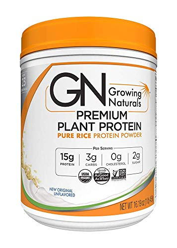 Growing Naturals Organic Rice Protein Powder, Original, 16.2 Ounce