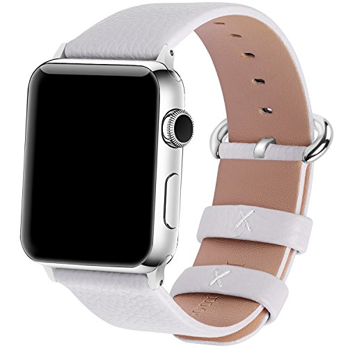 15 Colors for Apple Watch Bands 42mm and 38mm, Fullmosa Yan Calf Leather Replacement Band/Strap with Stainless Steel Clasp for iWatch Series 0 1 2 Sport and Edition Versions 2015 2016 2017, 38mm White