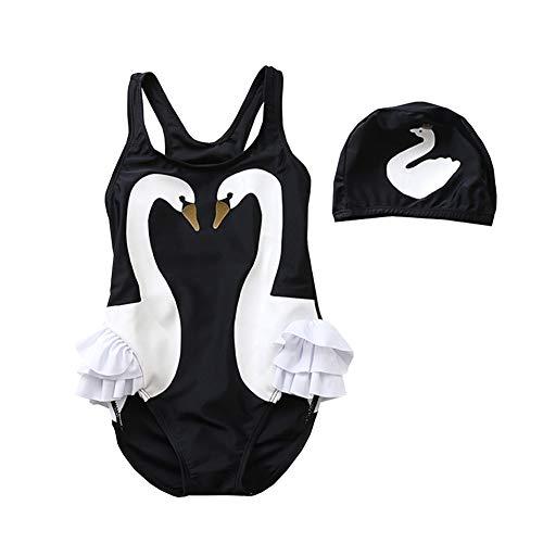 CH&Q Baby Toddler Girls One Piece Swimsuit Ruffle Bathing Suit Swimwear, Black Swan + Cap, 3-4T ()