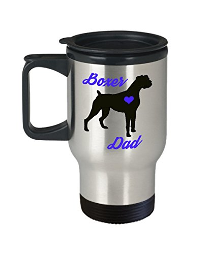 (Boxer Dad Travel Mug - Insulated Portable Coffee Cup With Handle And Lid For Dog Lovers - Perfect Christmas Gift Idea For Men - Novelty Animal Lover Quote Statement Accessories)