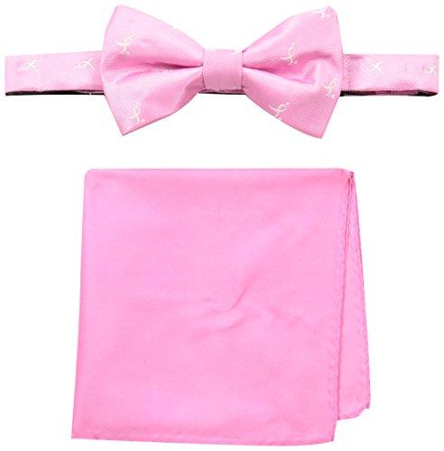 Susan G. Komen Men's Ribbon Bowtie and Pocket Square, Pink, One Size