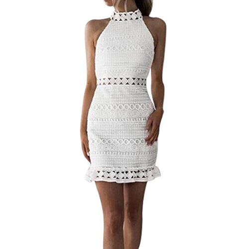 Teresamoon Halloween Cocktail Dress, Deal Womens Bandage Dresses Lace Dress (White, L)