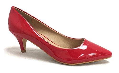 Coshare Kvinnor Mode Patent Förskönas Främre Låg Klack Pumpar Röd-16