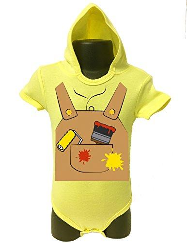 BABY Hoodie Bodysuit Onesie Romper UNISEX HALLOWEEN FUNNY Comes Gift Wrapped (12-18 MONTHS, YELLOW-Painter) (Juegos De Decorar De Halloween)