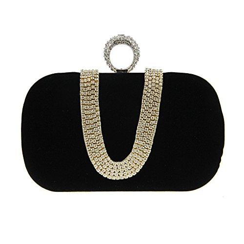 Party Bag Luxury Pouch Party U Small Cosmetic Detachable Wedding Handbag Purse Gift Girl Prom Wallet Shoulder Women Cocktail Shining Black Evening Strap Tote Lipstick Banquet Clutch Glitter Storage Ladies nPXw8gR