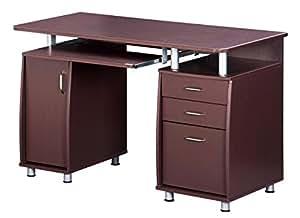 TECHNI MOBILI Complete Workstation Computer Desk with Storage - Chocolate