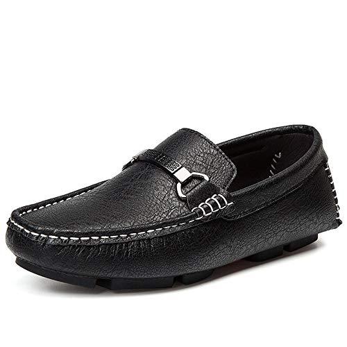 a Mocassino design e leggero 24 da da 28 nero Morbido mano Dimensioni 5cm fatti lavoro Scarpe in pelle Scarpe Scarpe unico guida uomo Mocassini 0cm da piatte microfibra gommi casual gommino Scarpe 5wqxwEYC
