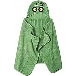 John Deere Kids' Toddler Hooded Towel, Green,