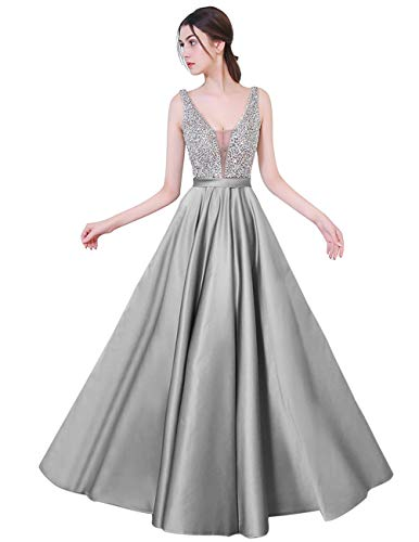 YuNuo Gorgeous V Neck Beaded Crystal Brown Long Prom Dresses 2019 Custom Made Sexy Floor Length Evening Dress Long Formal Party Gowns S5silver-US8