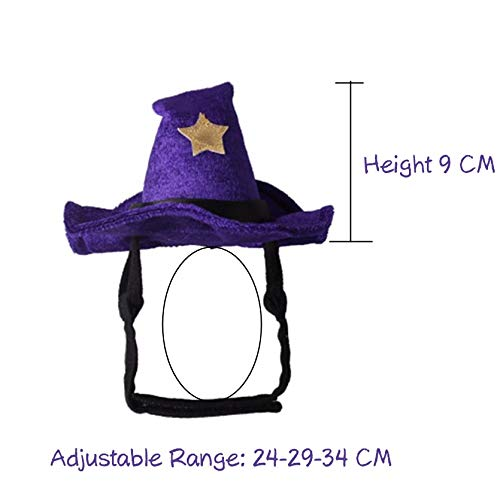 D-ModernPet Dog Costume - Halloween Witch Hat for Cats Purple Cat Cap Christmas Accessories for Small Dogs Party Dressing Funny Costume Pet Supplies -