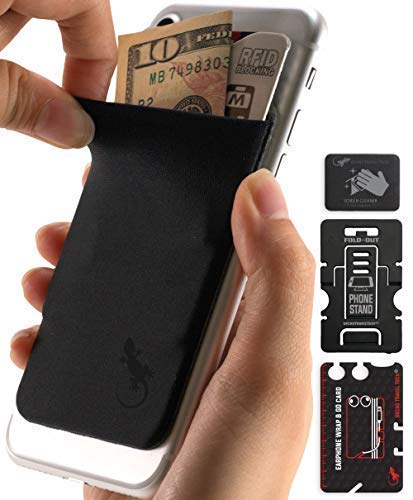 Gecko Travel Tech Phone Wallet - Stick On Card Holder iPhone Wallet for Cell Phones - Adhesive Card Pocket for Credit Cards and Money - Sticker for Cases - Phone Stand - RFID Protection Sleeve