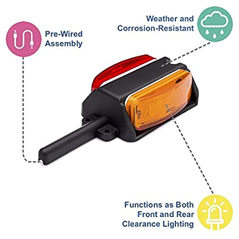 Lumitronics Pre-Wired Fender Clearance Trailer Light Assembly LUM-MP21AR-R Right Fender Amber//Red