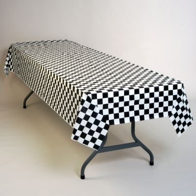 Attractive Black And White Checker Plastic Tablecloth 100u0027 X 40u0026quot; ...