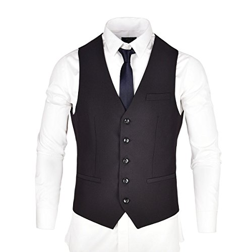 Vest V Suit Neck Dress VOBOOM Button Business Men's Black Waistcoat Suit 5 aX1Ix7qnZ
