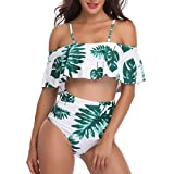 RUUHEE Women Off Shoulder High Waisted Tropical Strapless Swimsuits Plus Size (M(US Size 4-6),Green)
