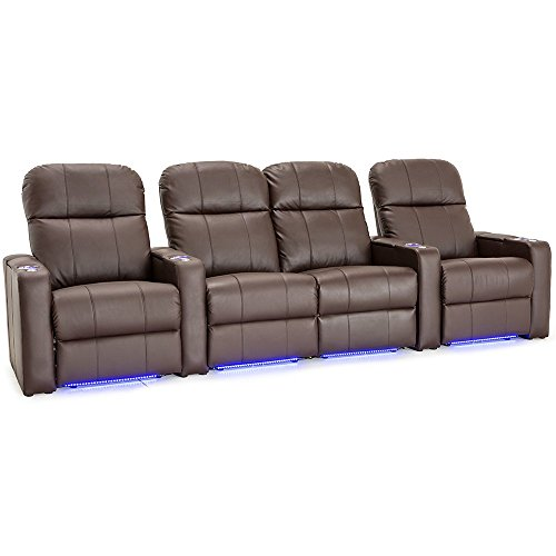 Seatcraft venetian brown bonded leather home theater seating row of 4 seats with center Loveseat theater seating
