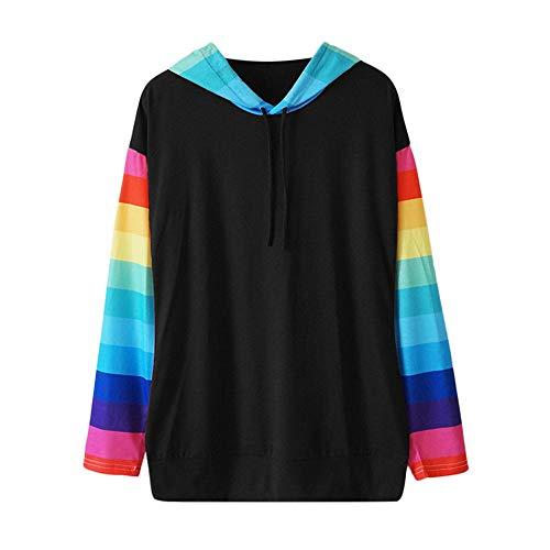 Bra Underwired Stripe (ANJUNIE Women Casual Long Sleeve Pullover Color Block Stripe Hooded Sweatshirt Tops(Black,M))