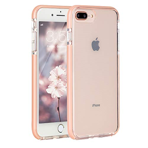 Sunluma Compatible iPhone 7 Plus Case, iPhone 8 Plus Case, Clear Transparent Back Silicone Soft Rubber Bumper Shockproof Anti-Scratch Protection Cover for Apple iPhone 7 Plus/iPhone 8 Plus, Peach