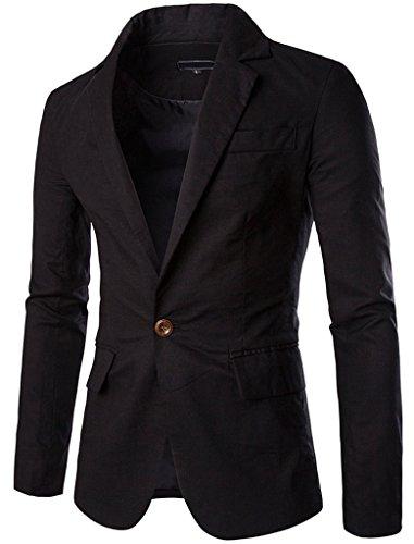 Cotton Linen Blazer (JASSYOY Mens Fashion Cotton Linen Lightweight One Button Blazer Jacket Black)