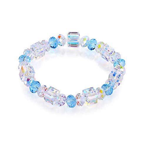 Bracelets Nickel Square (WANZIJING Woman's Bracelets, A Little Romance Square Glass Crystal Bracelet Square Wishing Stone Luxury DIY Crystal Jewelry Women Gift,Blue)