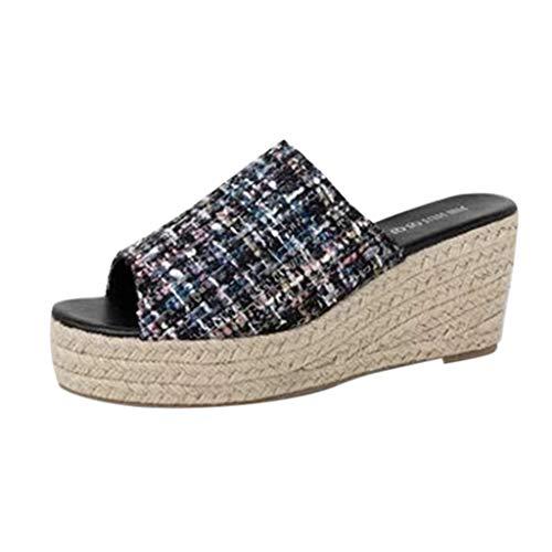 (Women's Espadrille Platform Wedge Heel Peep Toe PU Sandals Summer Fashion Slippers Thick Bottom Roman Slippers Beach Shoes)