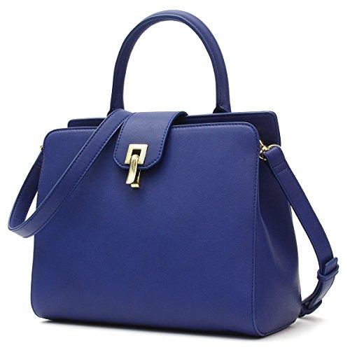 Kadell Women Leather Handbag Top Handle Crossbody Shoulder Bag with Removable Strap Kelly Bag Dark Blue Dark Blue