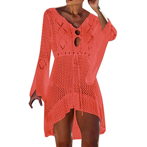 (Women's Fashion Swimwear Crochet Tunic Cover Up,St.Dona Casual Sunscreen Solid Bikini Knit Beach Swimsuit Bandage Dress)