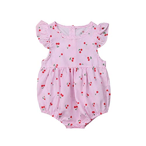 - Cute Cherry Print Newborn Infant Baby Girls Rompers Off Shoulder Baby Girl Summer Jumpsuit Playsuit Baby Clothing(Pink,6M)