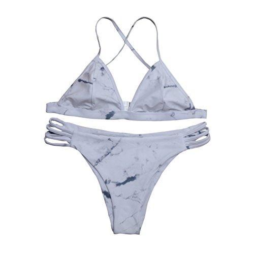 6e050ca6e3 2 Pcs Marble Print Cross Back Top Bottom Double Side Swim Wear Women Bikini  Sets - Buy Online in Oman. | Misc. Products in Oman - See Prices, ...