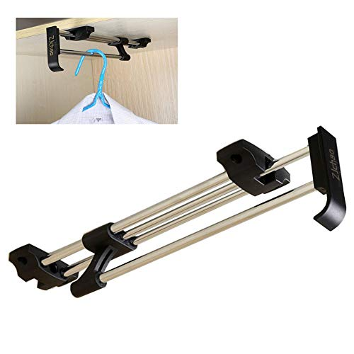 ZJchao Heavy Duty Retractable Closet Pull Out Rod Wardrobe Clothes Hanger Rail Towel Ideal for Closet Organizer Polished Chrome (30cm/ 11.8 -