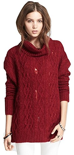 Misses Cable Knit (Free People Women's Distressed Cable Knit Cowl Pullover Sweater Red Small)