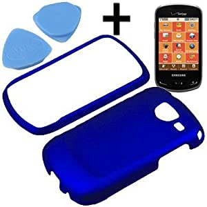 Bloutina BW Hard Shield Shell Cover Snap On Case for Verizon Samsung Brightside U380 + Tool-Blue