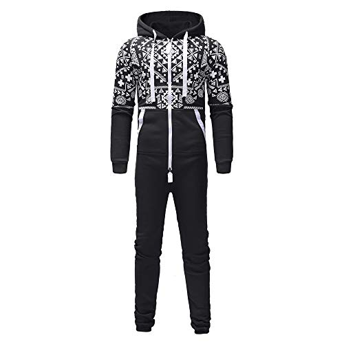 1d862a3a5f16 Bookear Men Hooded Onesie Jumpsuit Printed Christmas Romper Overall Zip up  Playsuit