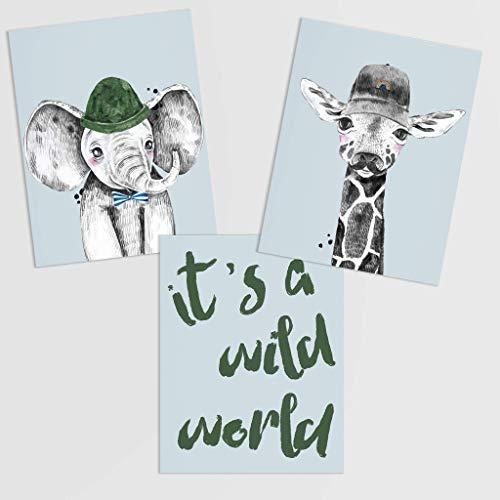 Safari Baby Animal Wall Prints - It's A Wild World Animals w/Accessories UNFRAMED Printed Artwork | Aviator 3d Glasses Blowing Bubble Gum Rainbow Cap Hipster Creatures Boy Girl Nursery Decor 8x10