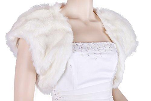 Flora código 17 - Bolero para boda pelo sintético con forro de raso, talla S-XL Marfil