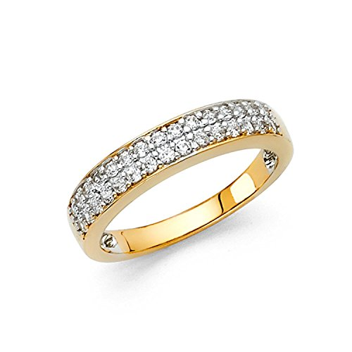 Size 6 - 3mm Solid 14K Yellow Gold Two Rows Round Cut Pave Set Wedding Band Ring (0.75 cttw.) (Two Row Set Pave)