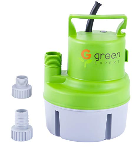 Green Expert 203617 1/6 HP Portable Submersible Utility Pump with Max 1056 GPH Flow Efficiently for Water Removal Basement Flood Drainage Pump with 3/4