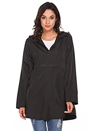 Soteer Women Waterproof Hooded Loose Long Sleeve Lightweight Solid Reversible Rain Poncho Hiking Running Cycling Black S