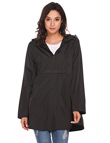 SoTeer Women Waterproof Hooded Loose Long Sleeve Lightweight Solid Reversible Rain Poncho Hiking Running Cycling Black M