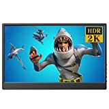 Gaming 2K Monitor 13.3-inch Full HD Mini HDR HDMI Resolution 2560×1440 Display USB Powered Support Xbox Nintendo PC Laptop Raspberry Pi
