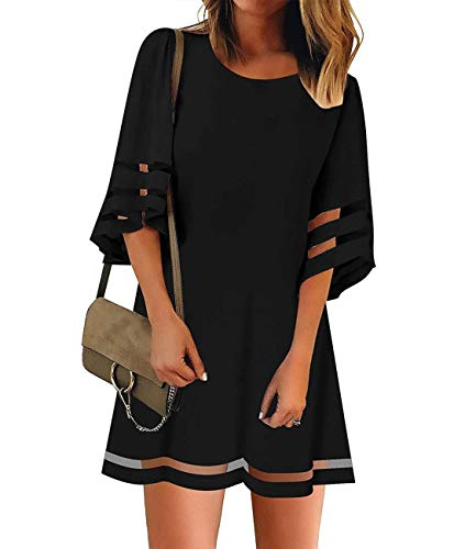 ZESICA Women's Casual Crew Neck Mesh 3/4 Bell Sleeve Solid Color Tunic Dress Black