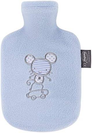 Fashy Wärmflasche Kind Flauschbezug hellblau, 0.8 L, 1er Pack, Sortierte Designs (1 x 1 Stück)