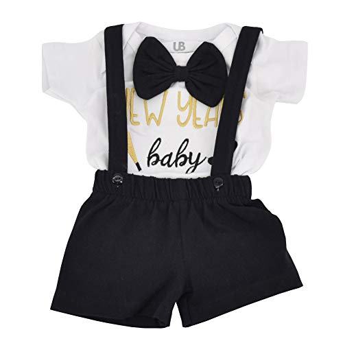 Unique Baby Boys New Years Baby Suspender Outfit Layette Set (12 Months) Black