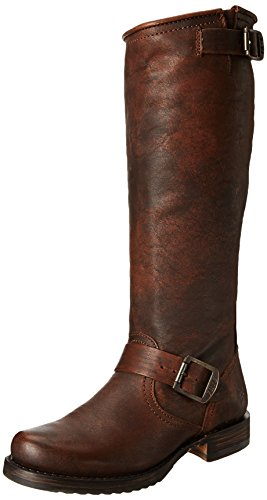 FRYE Women's Veronica Slouch Boot, Dark Brown Calf Shine Vintage Leather, 5.5 M US