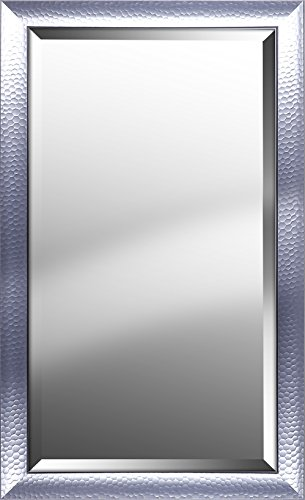 Mirrorize Canada Hexagon Pattern With Silver Gloss Finish Beveled Wall Mirror Vanity,Hallway,Bathroom, Bedroom 25.25X41.25X1.25 Silver Rectangle Large Bevelled Mirror